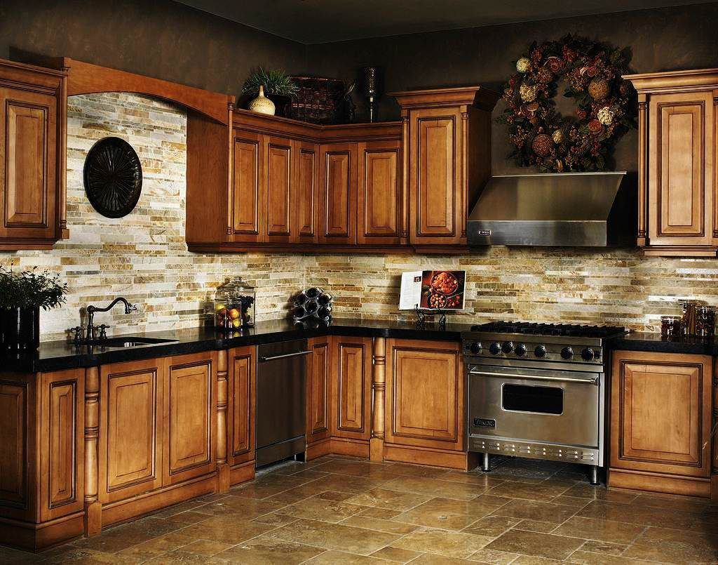 Granite countertop fantastic cherry kitchen cabinets with ... on Backsplash Ideas For Black Granite Countertops And Cherry Cabinets  id=23625