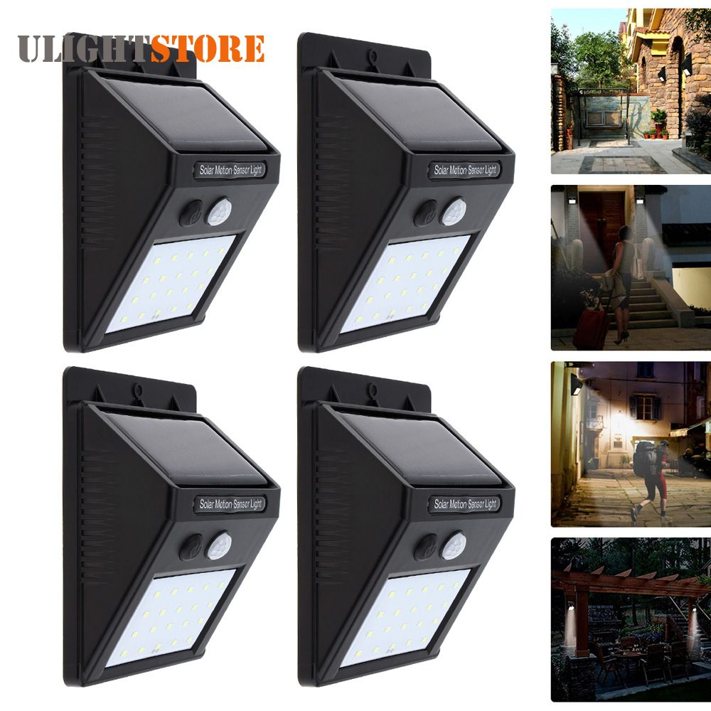 4pcs Rechargeable Solar Power Led Wall Light Pir Motion
