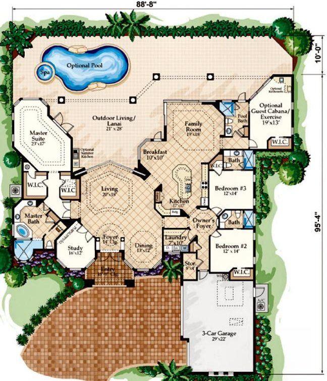 First Floor Plan of Florida Luxury Mediterranean House Plan 60413