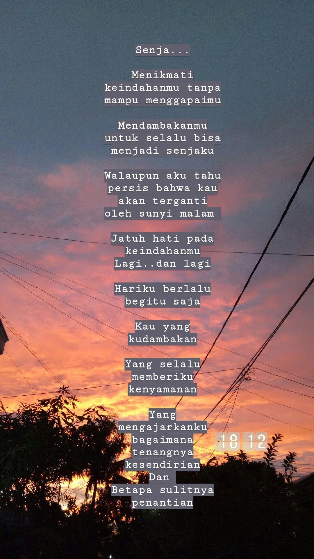 Senja Dan Penantian Quotes Poem Puisi Sajak Kata Kata Indah