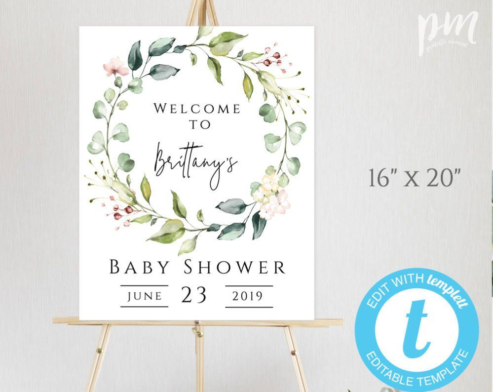 Printable Baby Shower Welcome Sign 3 Sizes #ROXAN Succulent Welcome Sign Succulent Baby Shower Welcome Poster Edit with TEMPLETT