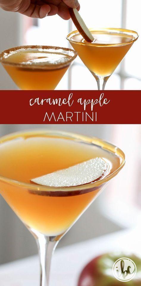 Dieser Caramel Apple Martini ist ein einfaches und köstliches Herbstcocktailrezept. #fallen #caramelapples