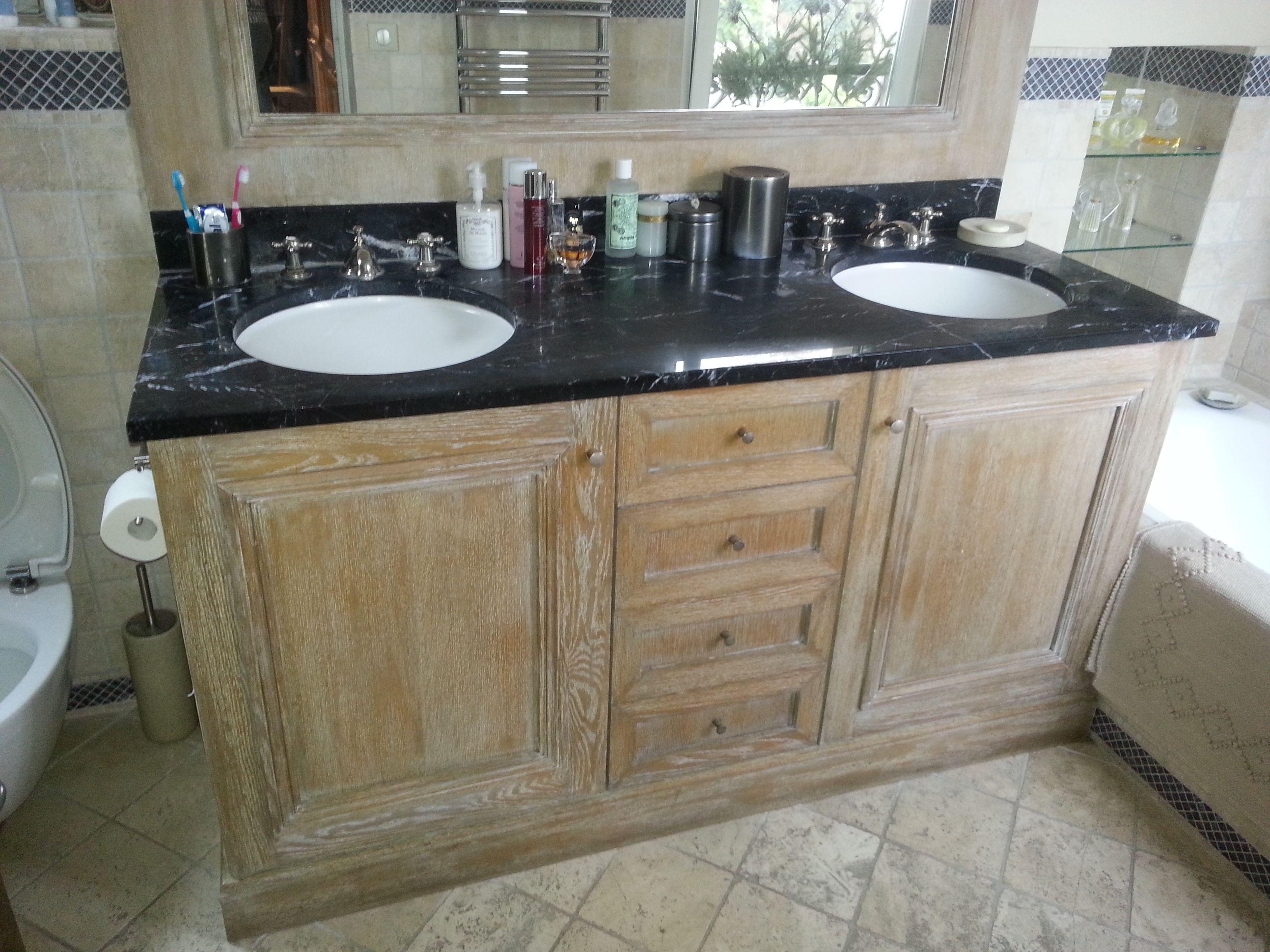Vasque Salle De Bain Sur Plan De Travail meuble vasque en chéne ceruse,plan de travail en marbre noir