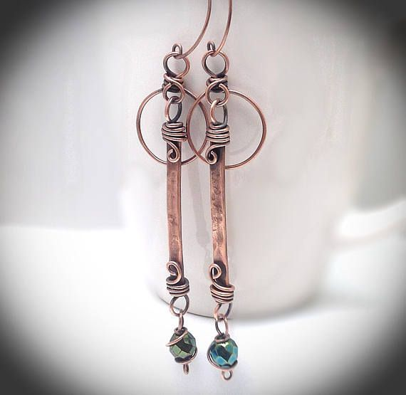 Wire wrapped jewelry. Hanging earrings. Copper jewelry ...
