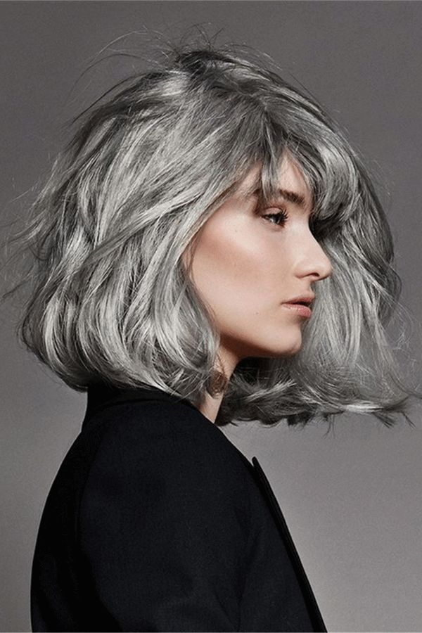 salt and pepper hair medium bob straight synthetic wig in