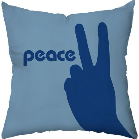 Checkerboard Lifestyle Peace Out Throw Pillow, Blue