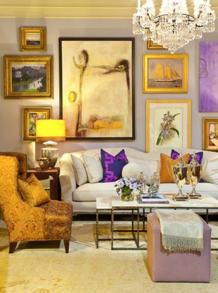 traditional, living room, art, gallery walls, purple and yellow ...
