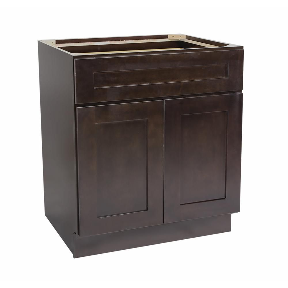 Ready to Assemble 30x24x34-1/2 in. Brookings Shaker Style 2-Door 1-Drawer Base Cabinet in Espresso (Brown)