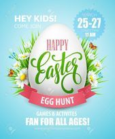 Easter Egg Hunt poster Vector illustration EPS10