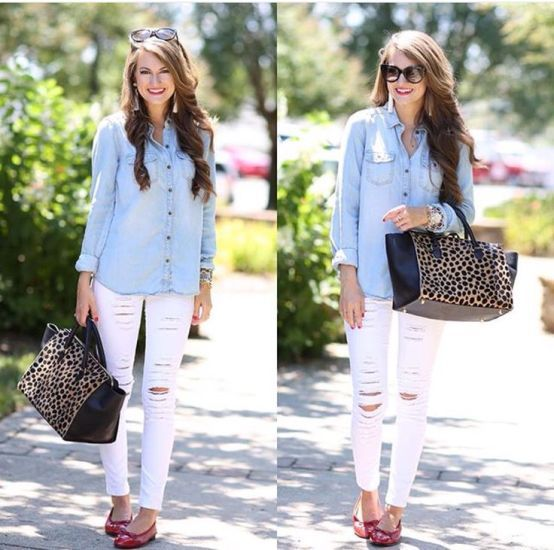 light denim shirt with white jeans, Fashion Bloggers Street looks ...
