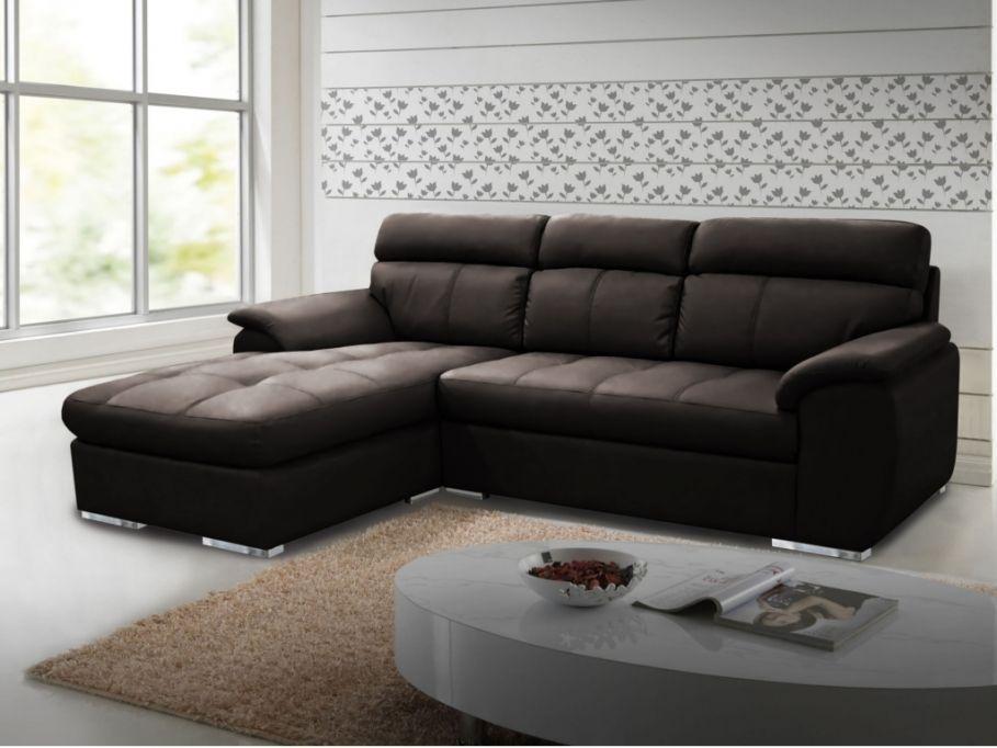 vente flash vente unique promo canap d 39 angle en cuir mariani chocolat angle gauche prix. Black Bedroom Furniture Sets. Home Design Ideas