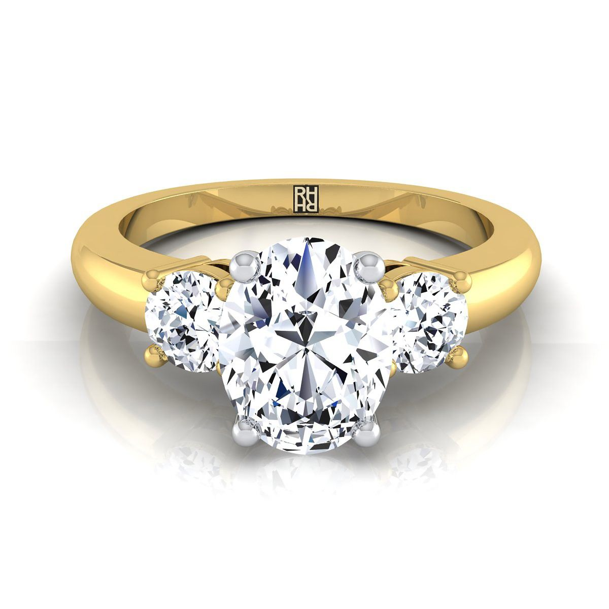 Stuller Three Stone Side Stones: Diamond 3 Stone Engagement Ring With Oval Center And Round