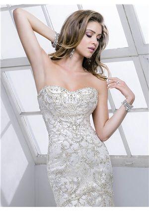 Sumptuous Sheath/Column Sweetheart Beading Embrodiery Zipper Wedding Dress - Storedress.com for mobile
