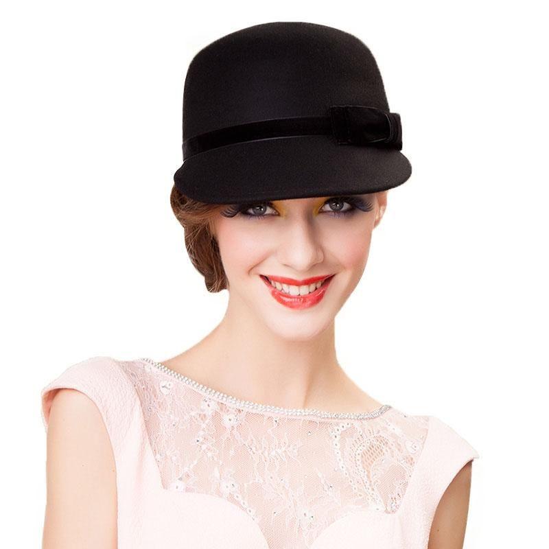 FS 100% Australia Wool Felt Fedora Hat Black Gray Womens Winter Wide Brim  Elegant Ladies 792d5f965304