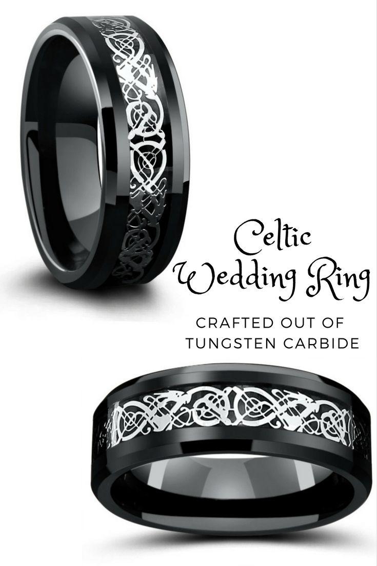 8mm Black Tungsten Wedding Band With Silver Celtic Design Celtic Wedding Rings Black Tungsten Wedding Band Celtic Wedding