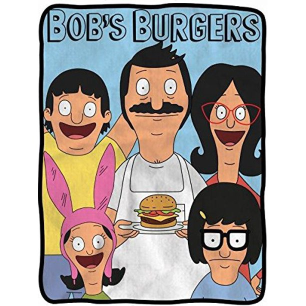 Bob's Burgers Soft Fleece Blanket - Officially licensed Bobs Burgers colorful Soft Fleece Throw Featuring Bob with a Burger, Linda, Louise, Tina & Gene
