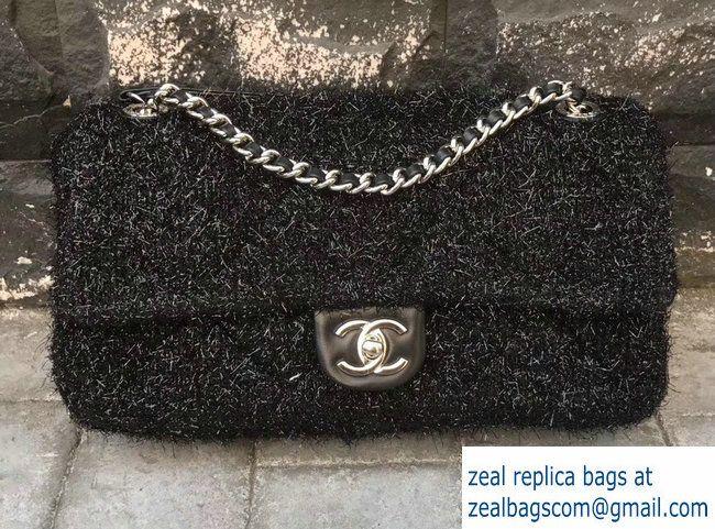 40889c86000c Chanel Knit Pluto Glitter Medium Flap Bag A91984 Black 2017 | Luxury ...