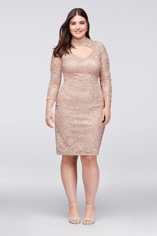 94d40ebf Sequin Lace Plus Size Cocktail Dress with Keyhole - Champagne (Yellow), 20