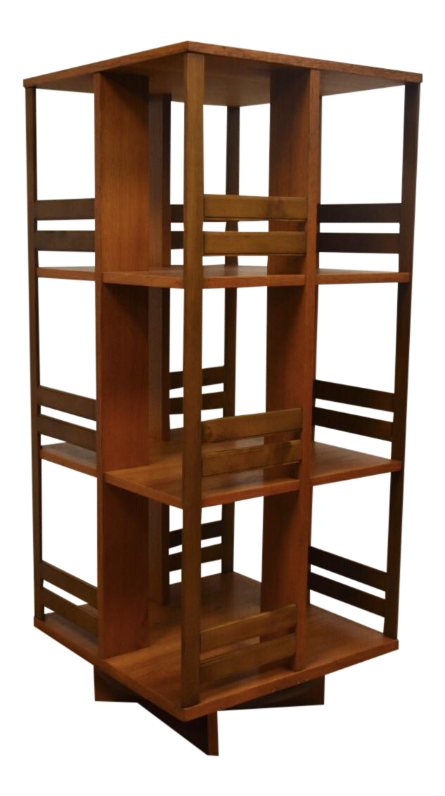 This Teak Danish Modern Bookcase Sits On A Revolving 360 Degree Swivel Base  Perfect For A Compact Space