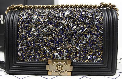990f42309743 CN0054 Chanel Boy Blue Diamond Flap Shoulder Bag in Black Original Leather  A90192 Gold