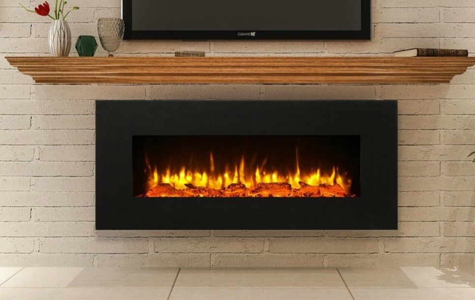 Black Electric Fireplace Wall Mounted Large 50 Vent On Bottom