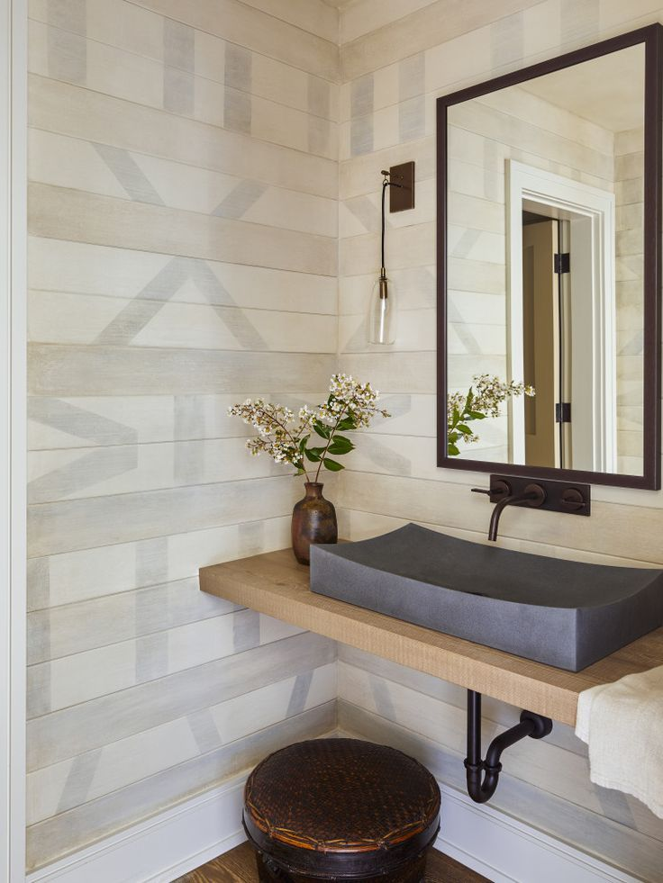 Floating Wood Vanity With Gray Sink And Black Faucet Painted Shiplap In Powder Bathroom In