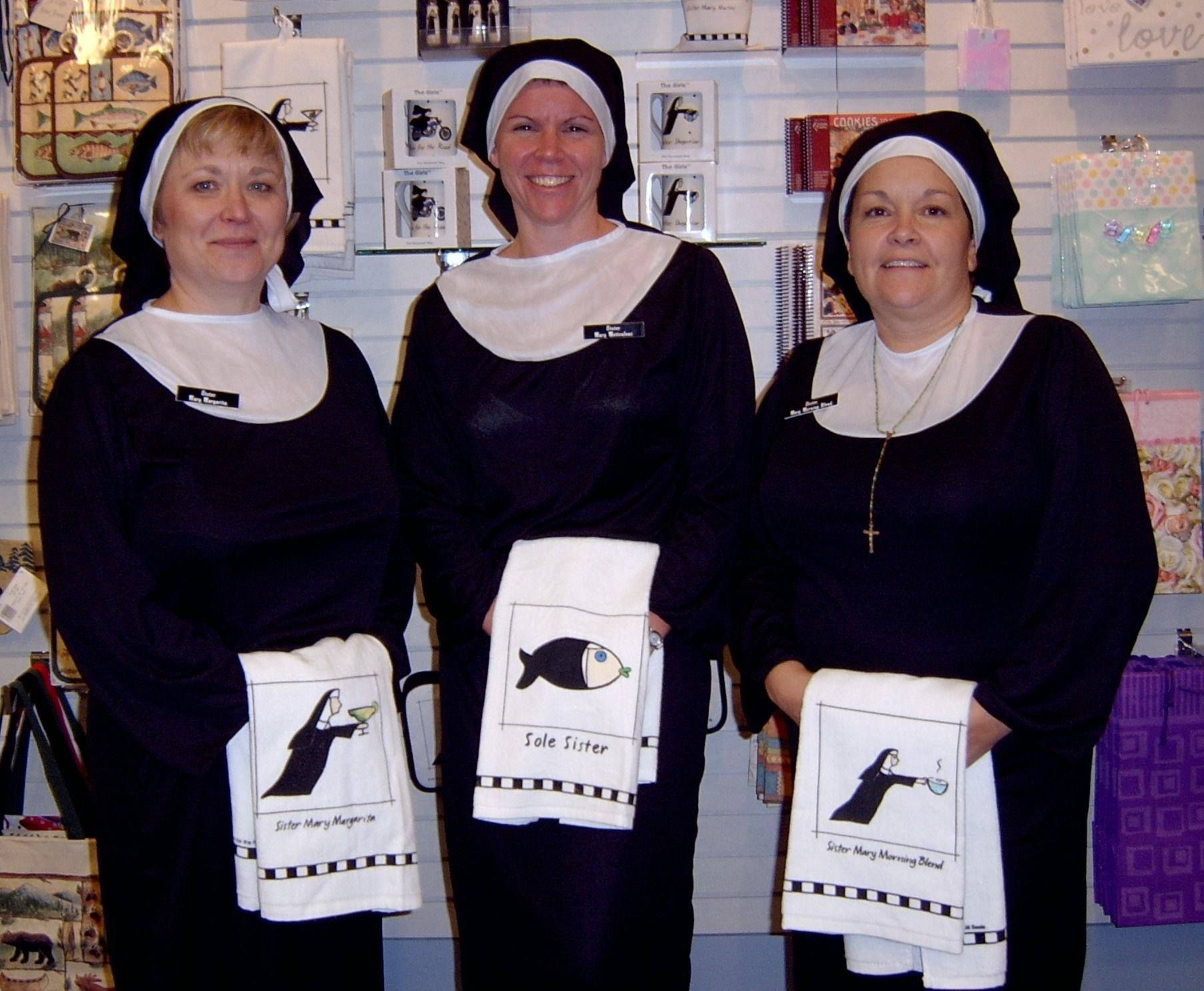Back in the holy days meet Sole Sister, Sister Mary margarita and Sister Mary Morning Blend. Join us on our facebook page for more great costumes.