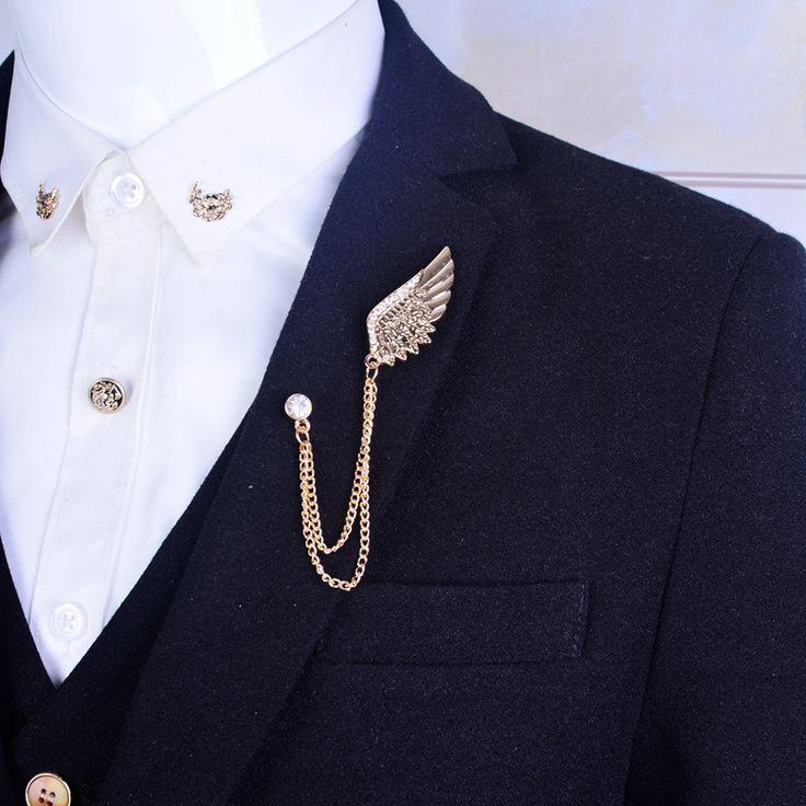 Engelsflügel Brosche Herren anzug kragen kristall metall flügel kette zubehör persönlichkeit schnalle kragen Brosche für frauen geschenk gold (China (Mainland))  #anzug #brosche #engelsflugel #herren #kragen #kristall #metall Herrenmode #menssuits