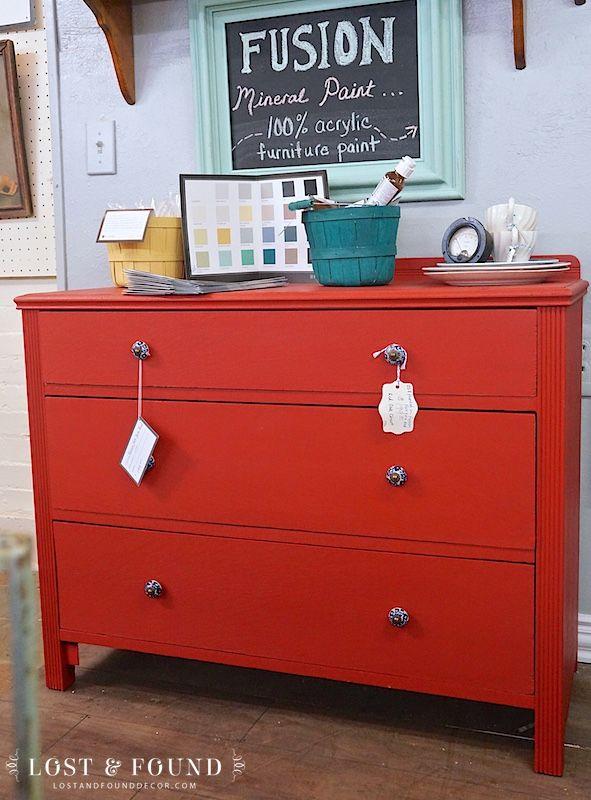 Oak Dresser Makeover in Fusion Ft. York Red | http://www.lostandfounddecor.com/makeovers/oak-dresser-makeover-in-fusion-ft-york-red/