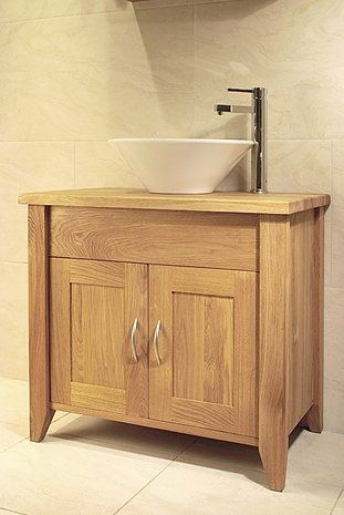 Oak Bathroom Single Wash Stand With 2 Doors Furniture Solutions