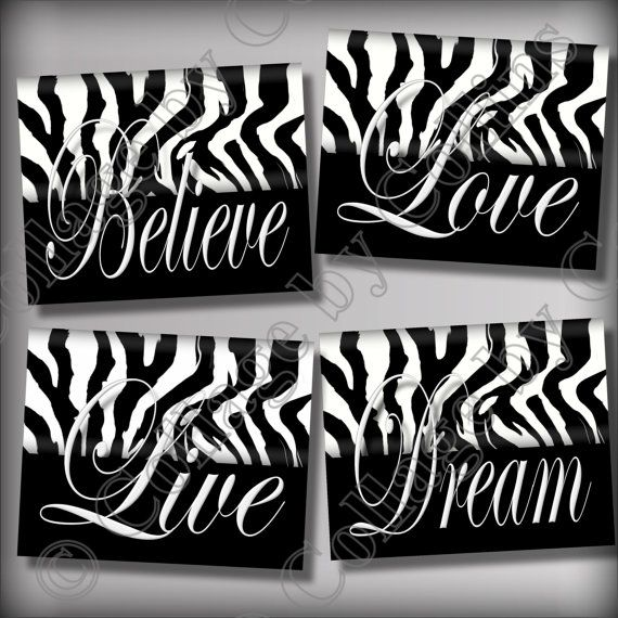 Zebra print wall art decor dream live love by collagebycollins 14 99