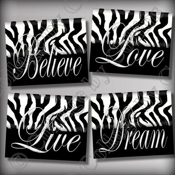 Zebra Print Wall Decor zebra print wall art decor dream live lovecollagebycollins