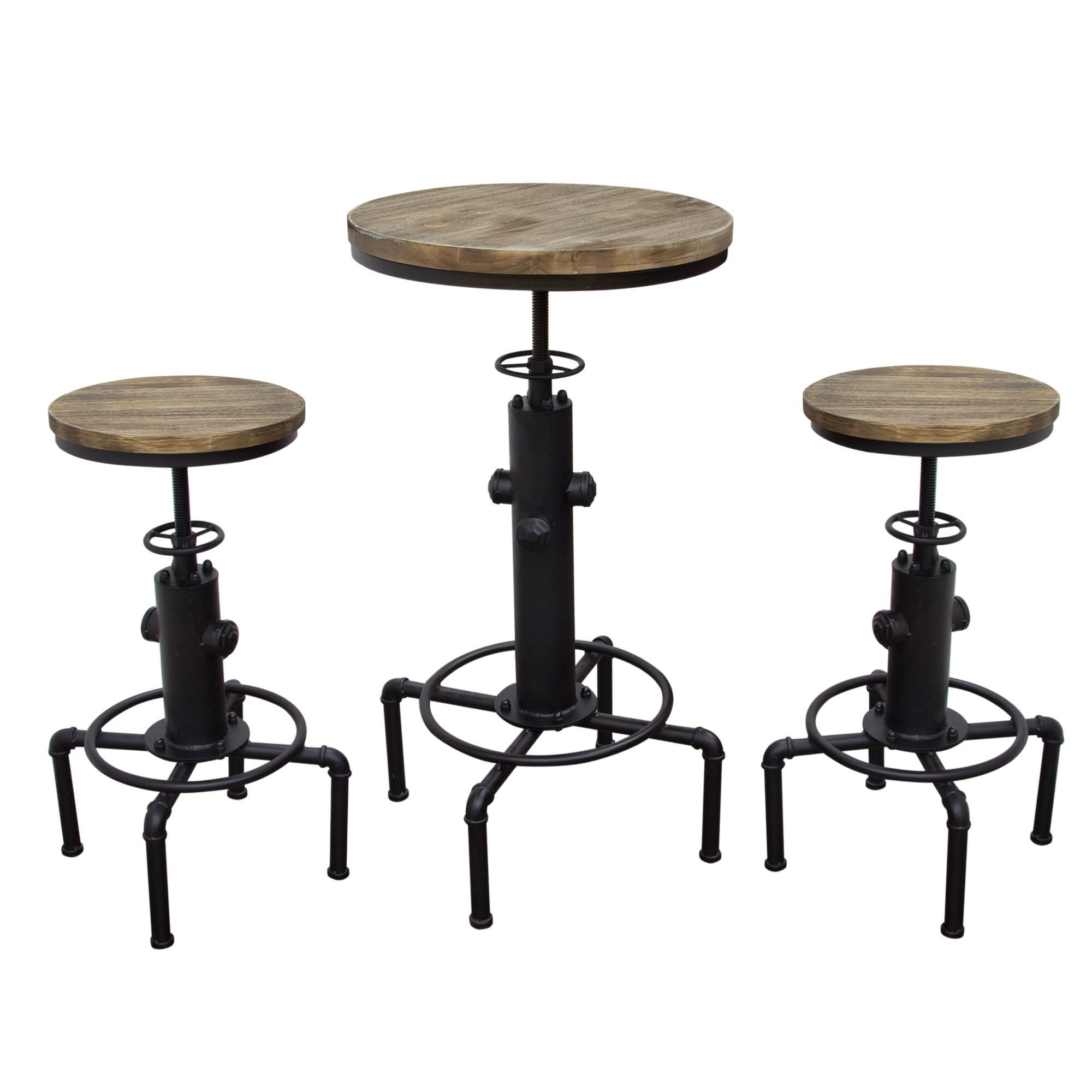 brooklyn 3pc set adjustable height bistro table with weathered grey