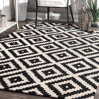 Nuloom Handmade Abstract Wool Fancy Pixel Trellis Area Rug 7 6 X 9 By