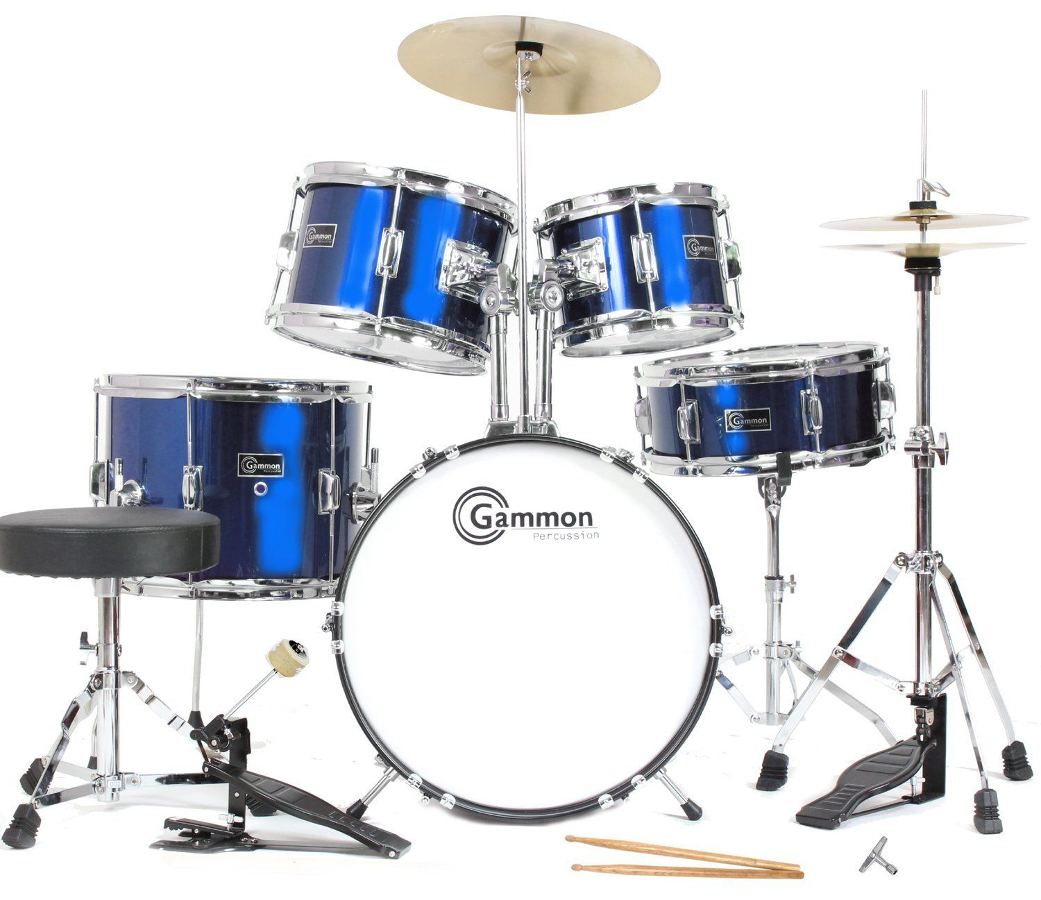 Buy Gammon Junior Starter Drum Set Metallic Blue Childrens Kid Size Kit With Cymbals Stands Sticks Throne Brand New Sale Absolutely