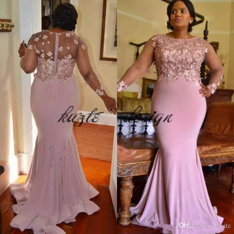 African 2018 Pink Chiffon Plus Size Mermaid Bridesmaid Dresses