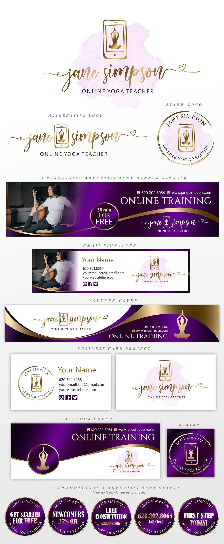 Online Yoga Training Logo Yoga Teacher Logo Home Yoga Classes Yoga Therapy Logo Online Therapy Coach Royal Purple Marketing Set 294 Teacher Logo Online Yoga Online Yoga Classes