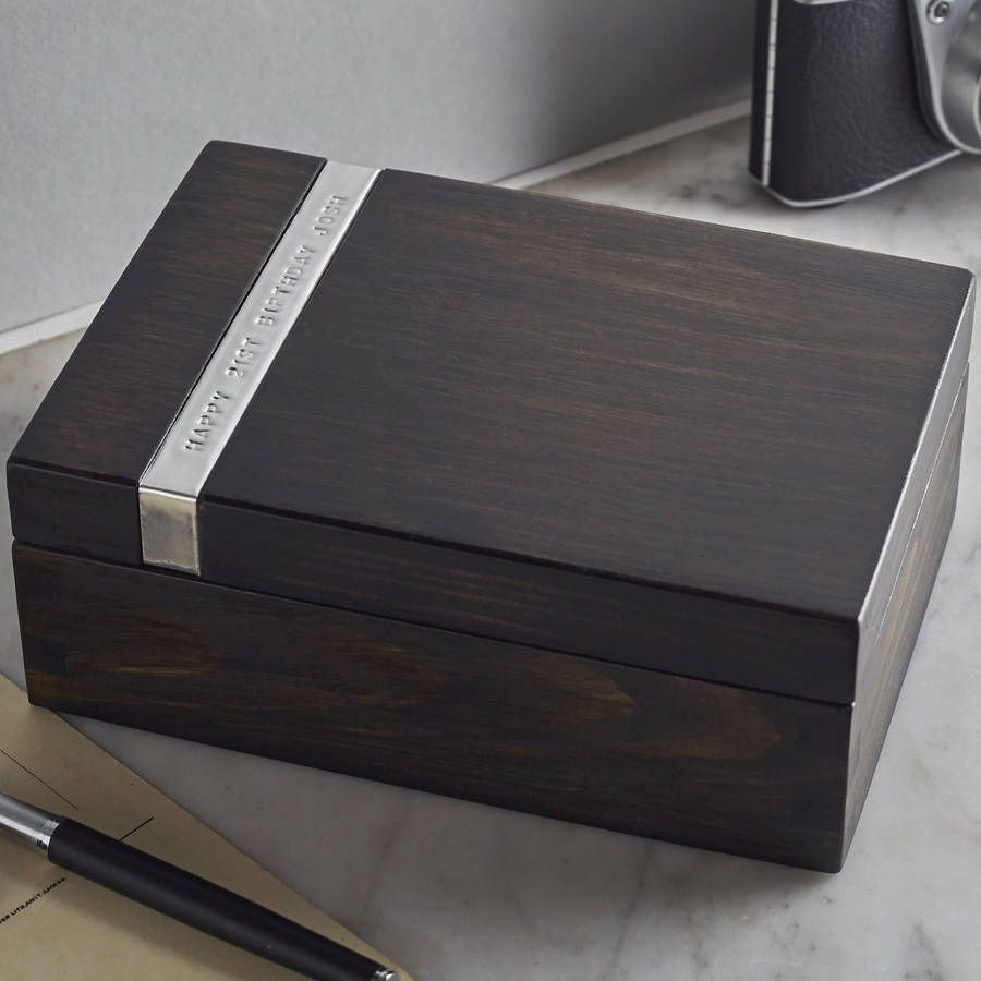 Thoughtful Gifts For Boyfriend Christmas: Personalised Wooden Cufflink Watch Box