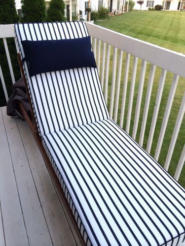 Customer Photo Clean Nautical Design Custom Chaise Lounge Cushion In Sunbrella Lido Chaise Lounge Cushions Outdoor Chaise Lounge Cushions Chaise Cushions