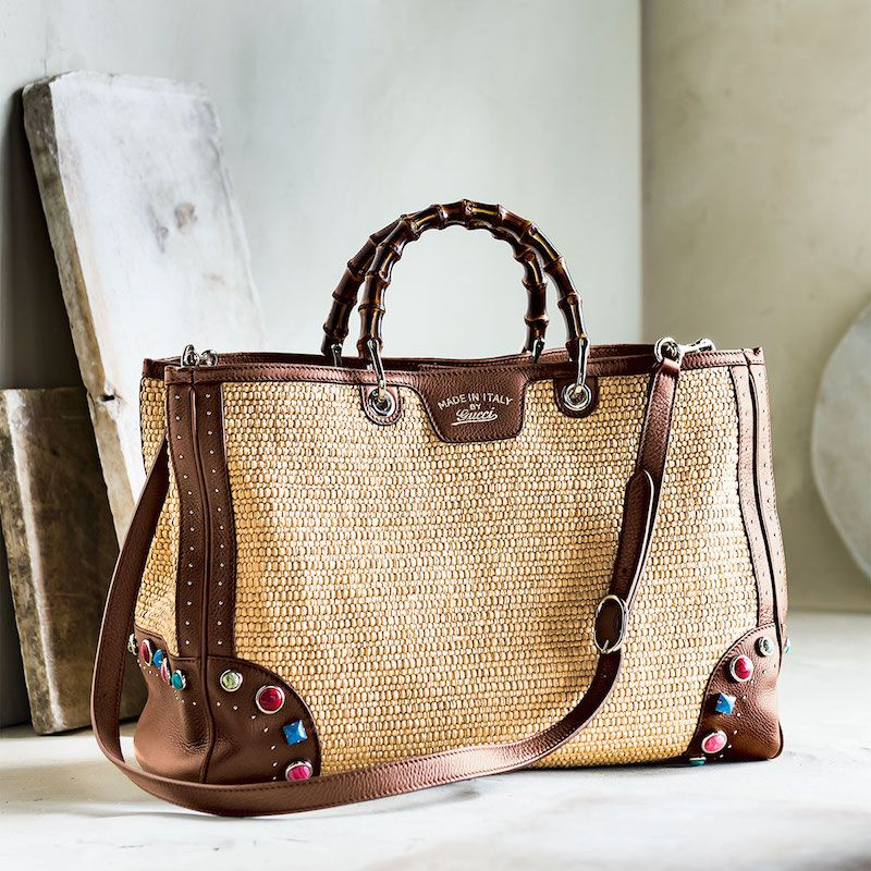 b3c6c791d84 Gucci Bamboo Shopper Large Straw Tote with Embroidered Stone Detail ...