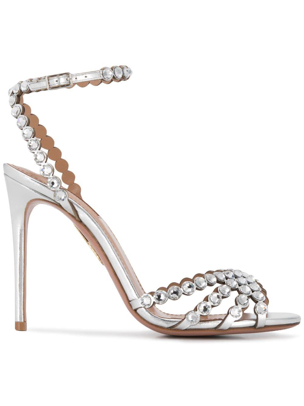 Aquazzura Studio crystal embellished sandals Silver