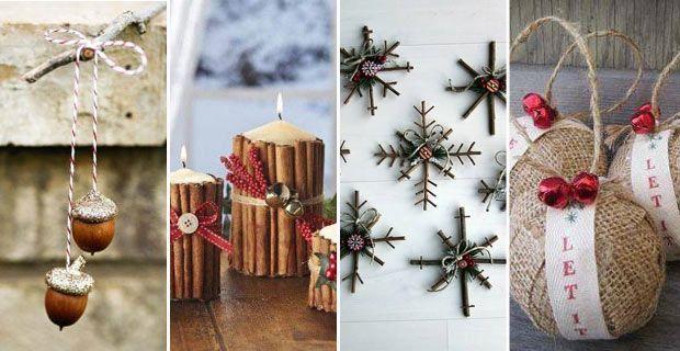 Weihnachts-Deko aus Naturmaterialien wie Tannenzapfen, Nüssen ...