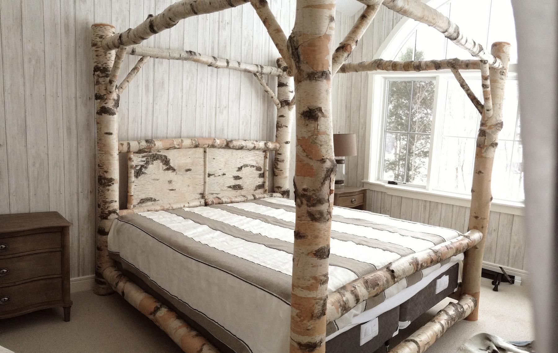 Birch Log Canopy Bed Canopy Bed Frame Bed Frame Design Wood Canopy Bed