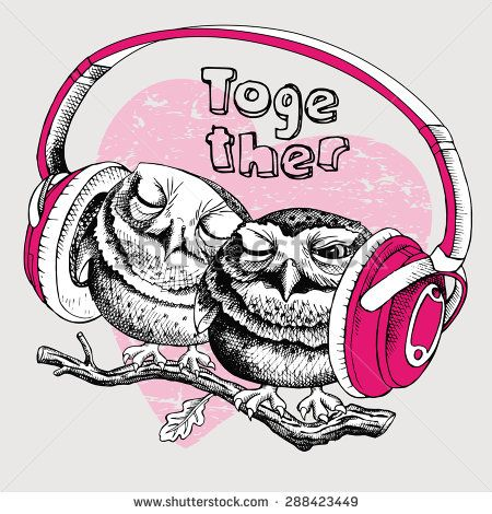 Image of two owls sitting on a branch together and with headphones. Vector illustration. - stock vector