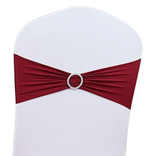 V-Dragons Stretch Chair Cover Band With Buckle Slider Sashes Bow Wedding Banquet Party Decorations (100, Burgundy)
