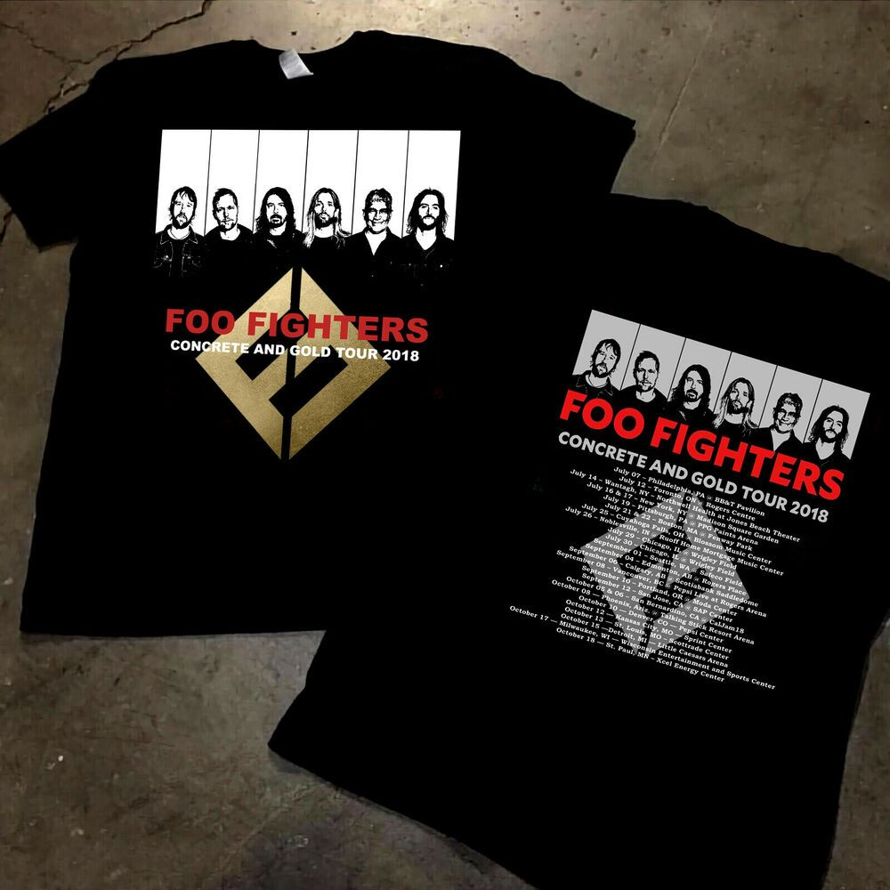 New Foo Fighters 2019 Concrete And Gold Tour Merch T Shirt