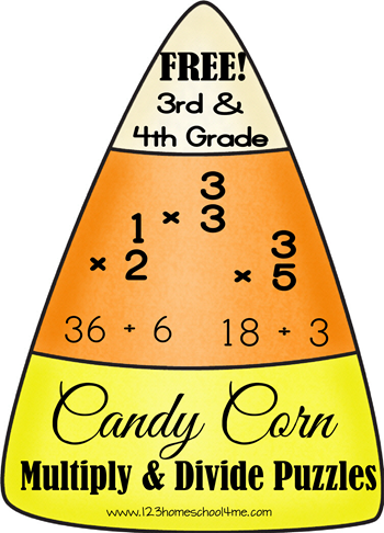 Free Candy Corn Math Multiplication And Division Puzzles Homeschool Math Fourth Grade Math Math Multiplication
