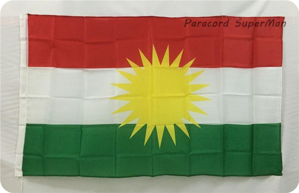 Alay Kurdistan Flag Banner 3ft x 5ft Hanging Flag Polyester KURDISH Kurds Flag Banner 150x90cm for Celebration big flag