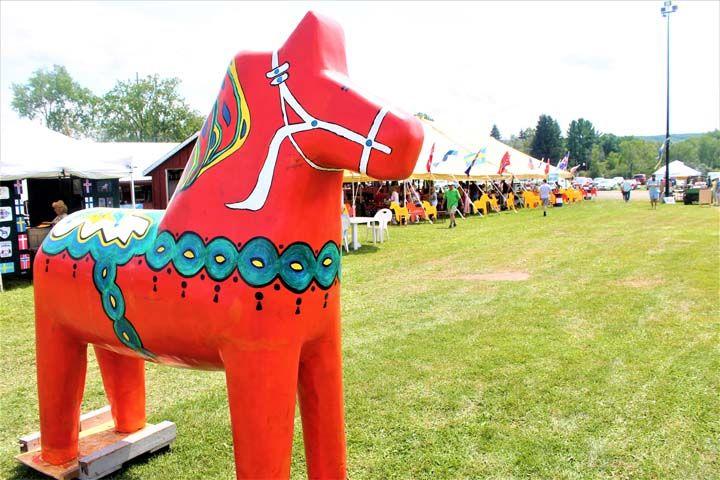 A Dala Horse Representative Of Scandinavian Culture Sits Inside The Scandinavian Folk Festival Which Began Friday At Folk Festival Scandinavian Dala Horse