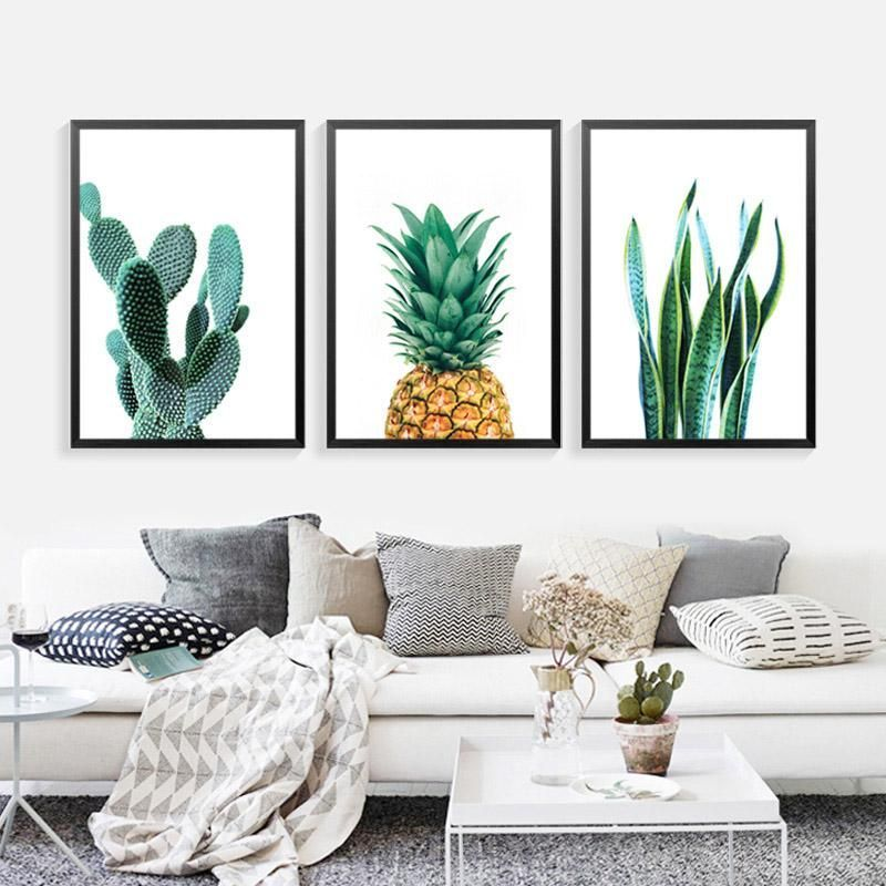 Cactus Pineapple Plant Wall Art Canvas Decorative Pictures Poster Print Wall Art Room Decor images